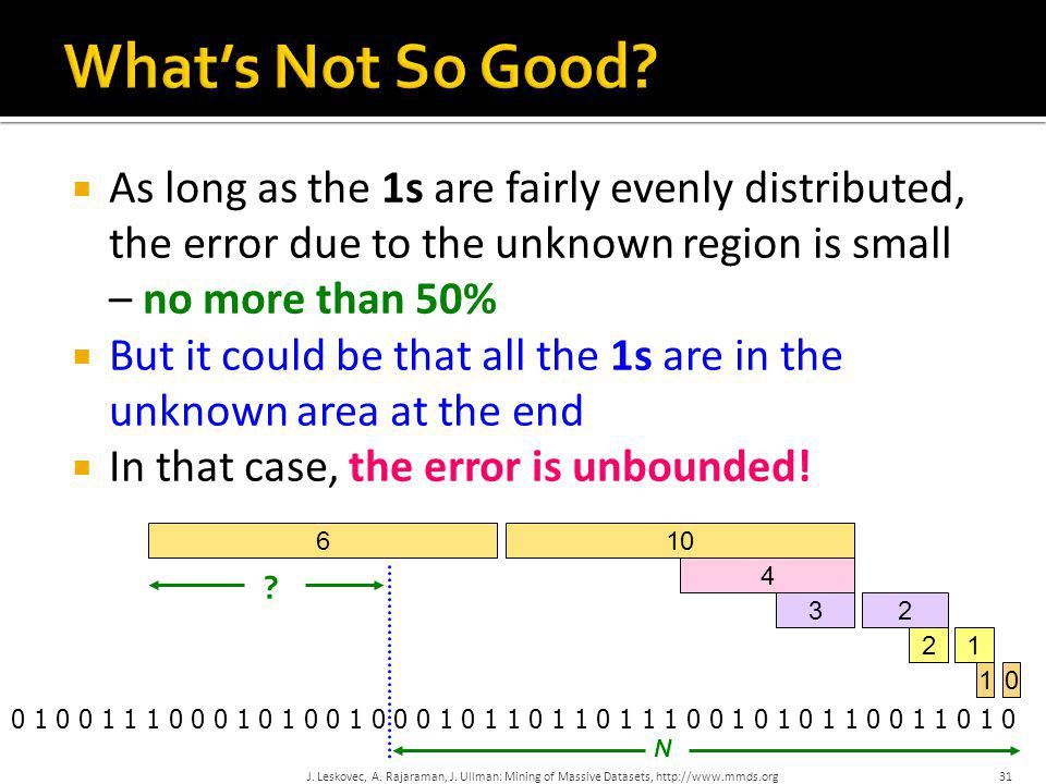 What's Not So Good As long as the 1s are fairly evenly distributed, the error due to the unknown region is small – no more than 50%