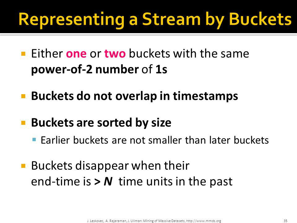 Representing a Stream by Buckets