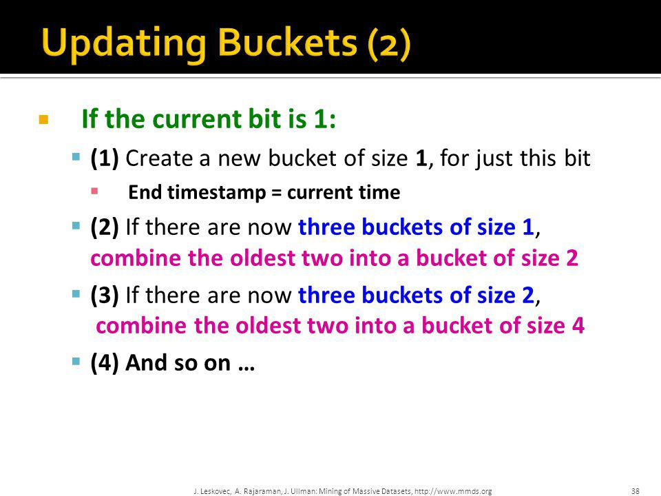 Updating Buckets (2) If the current bit is 1: