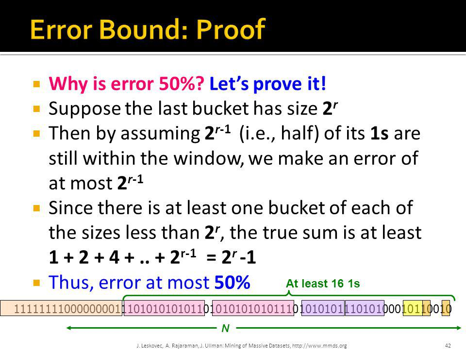 Error Bound: Proof Why is error 50% Let's prove it!