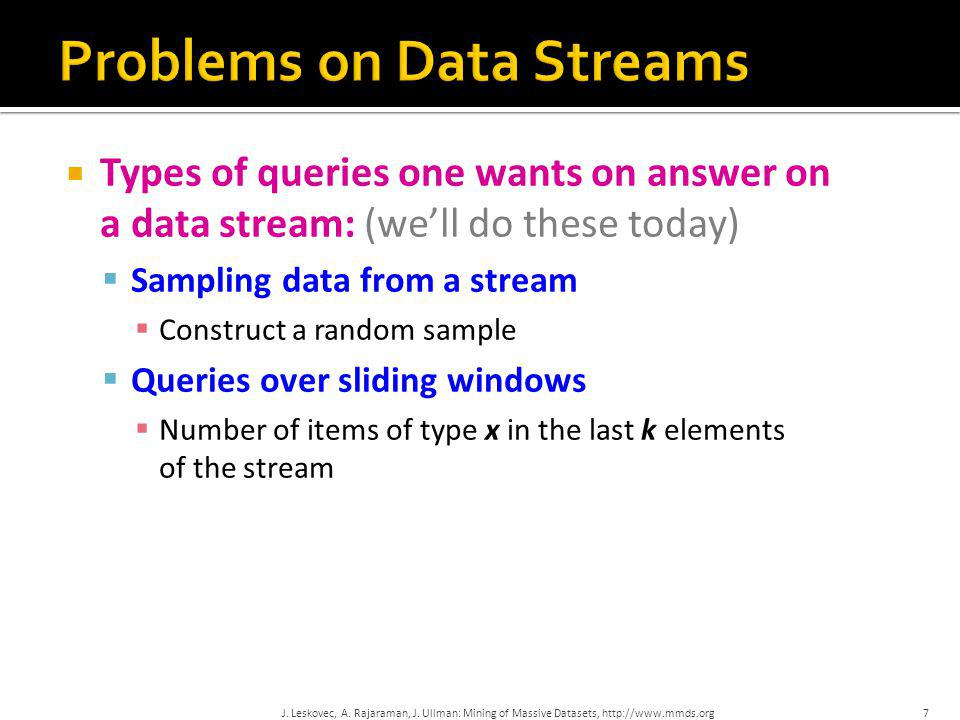 Problems on Data Streams