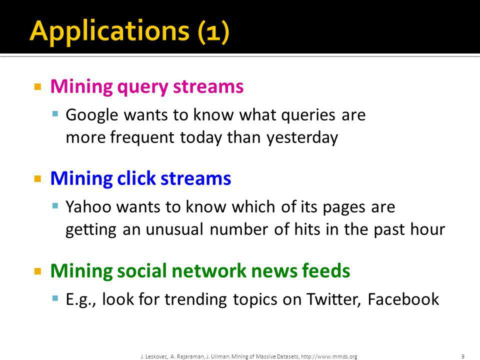 Applications (1) Mining query streams Mining click streams