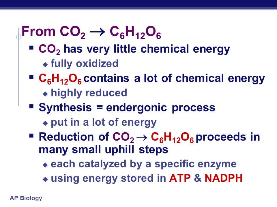 From CO2  C6H12O6 CO2 has very little chemical energy