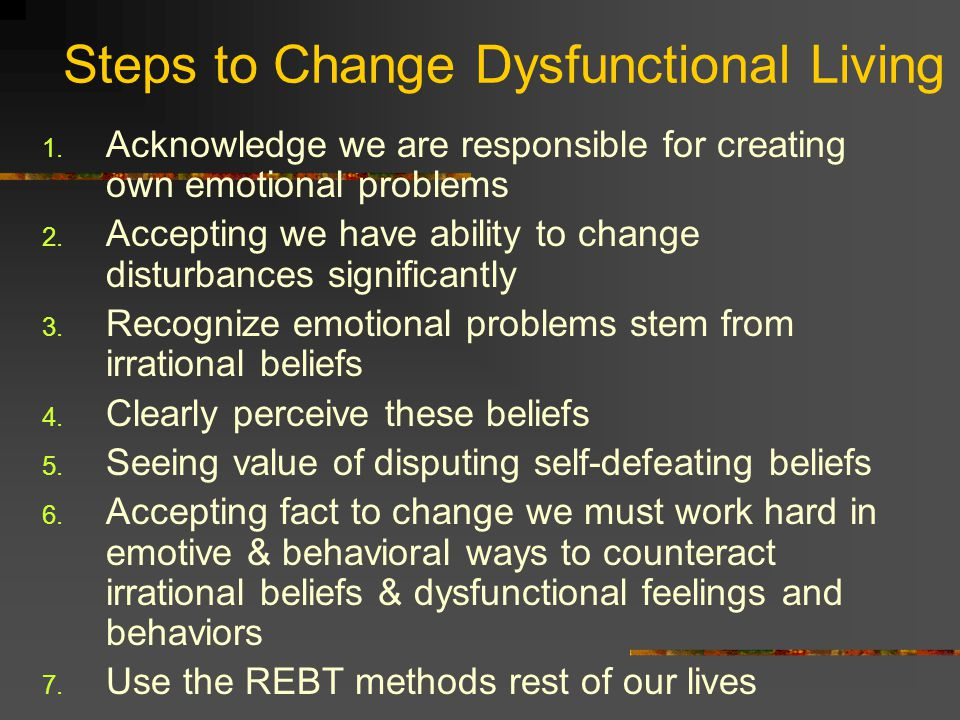 Steps to Change Dysfunctional Living