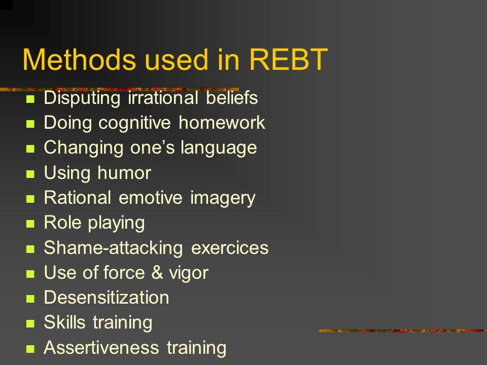 Methods used in REBT Disputing irrational beliefs