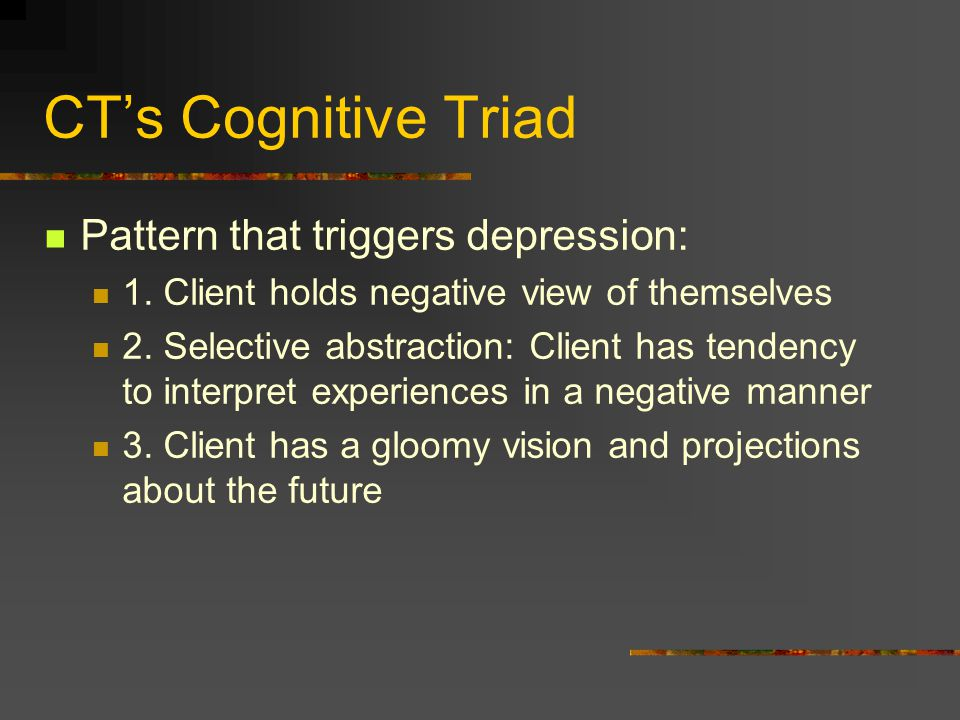 CT's Cognitive Triad Pattern that triggers depression: