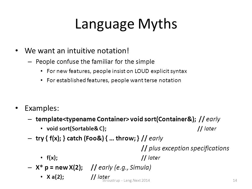 Language Myths We want an intuitive notation! Examples: