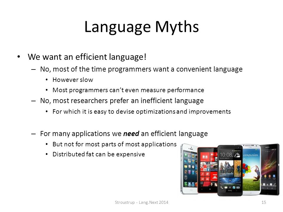 Language Myths We want an efficient language!