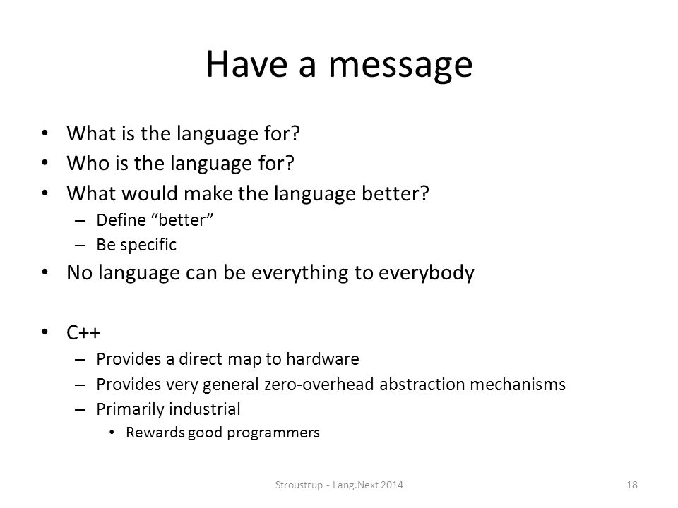 Have a message What is the language for Who is the language for