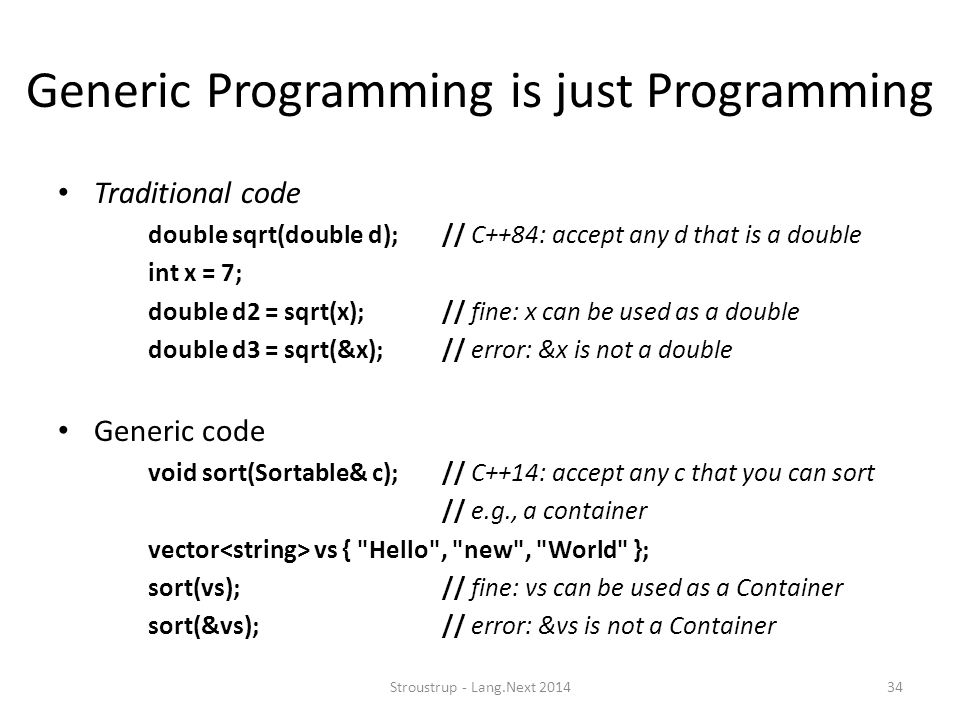 Generic Programming is just Programming