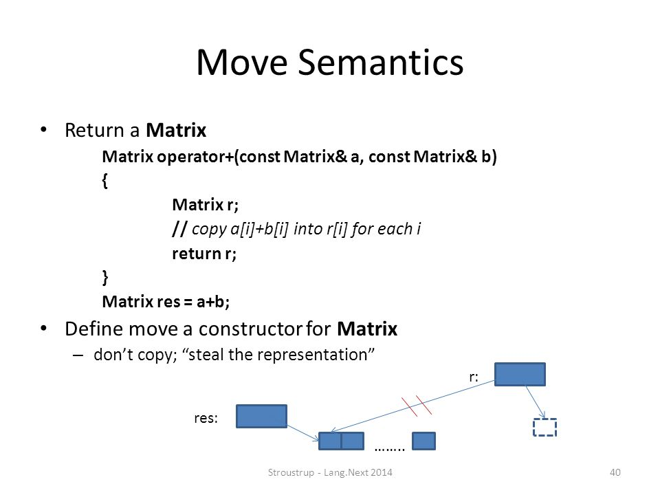 Move Semantics Return a Matrix Define move a constructor for Matrix