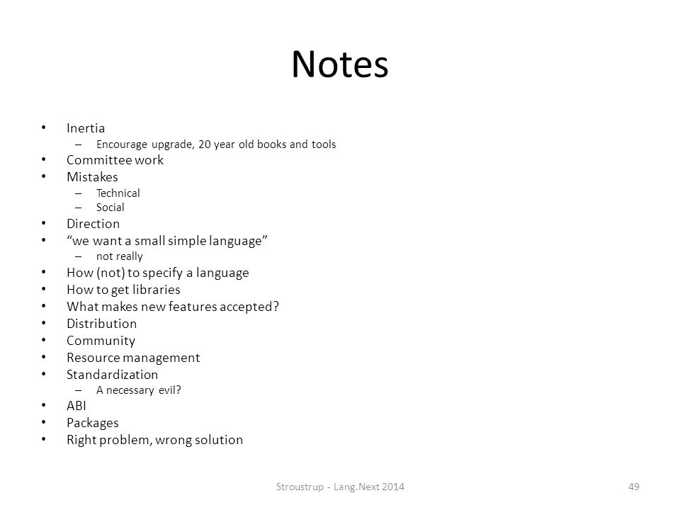 Notes Inertia Committee work Mistakes Direction