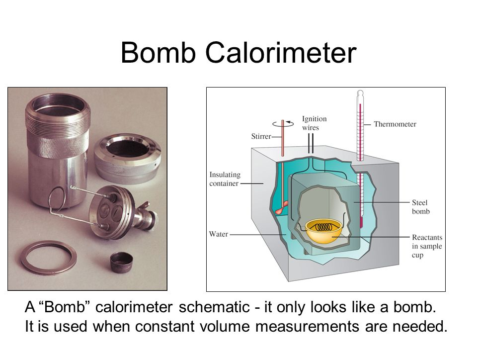Bomb CalorimeterA Bomb calorimeter schematic - it only looks like a bomb.