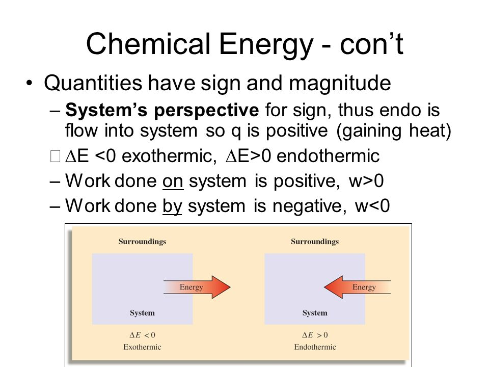 Chemical Energy - con't