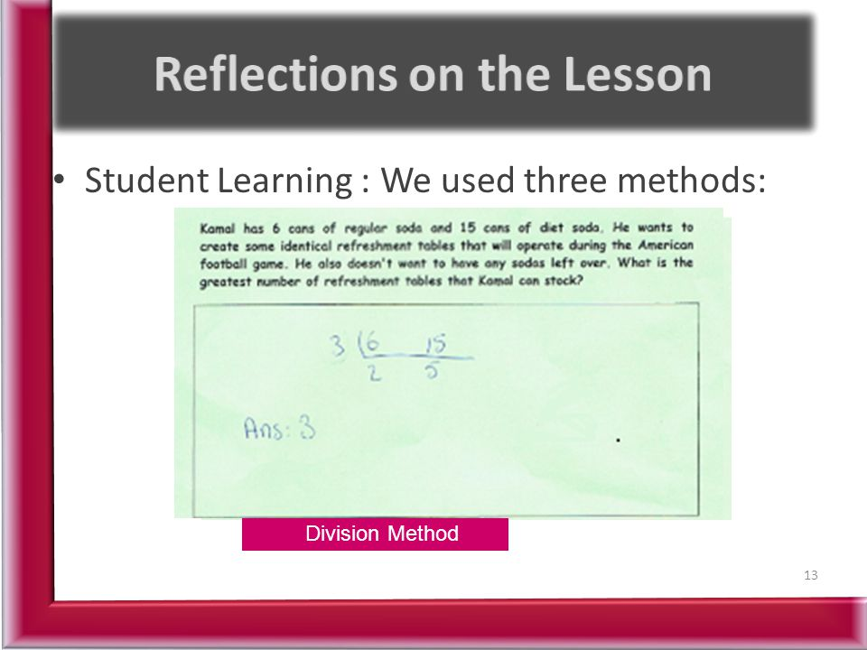 Reflections on the Lesson