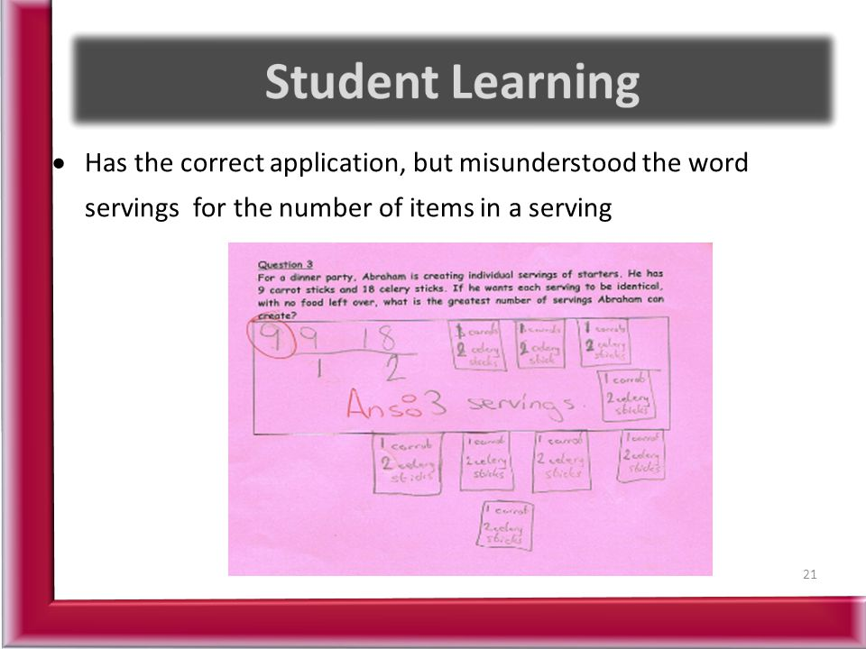 Student Learning Has the correct application, but misunderstood the word servings for the number of items in a serving.