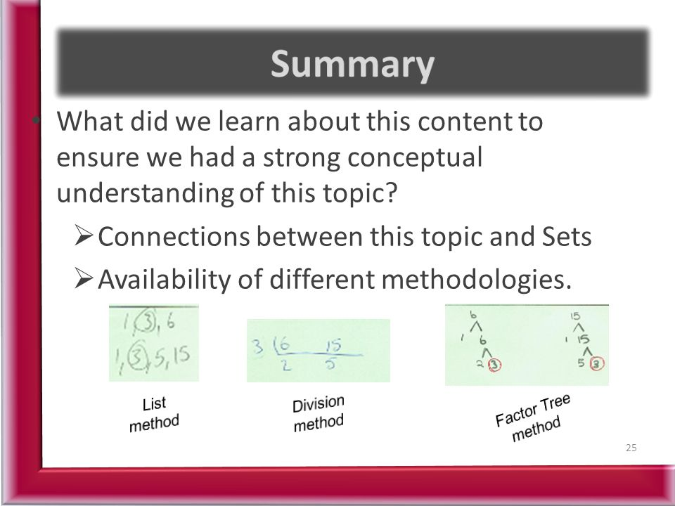 Summary What did we learn about this content to ensure we had a strong conceptual understanding of this topic