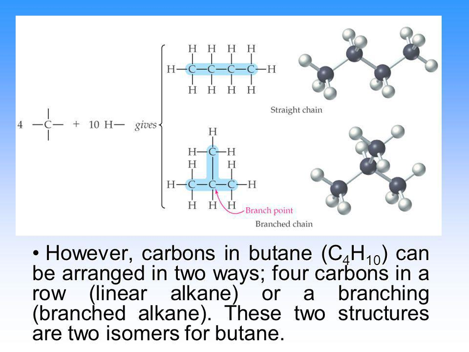 However, carbons in butane (C4H10) can be arranged in two ways; four carbons in a row (linear alkane) or a branching (branched alkane).