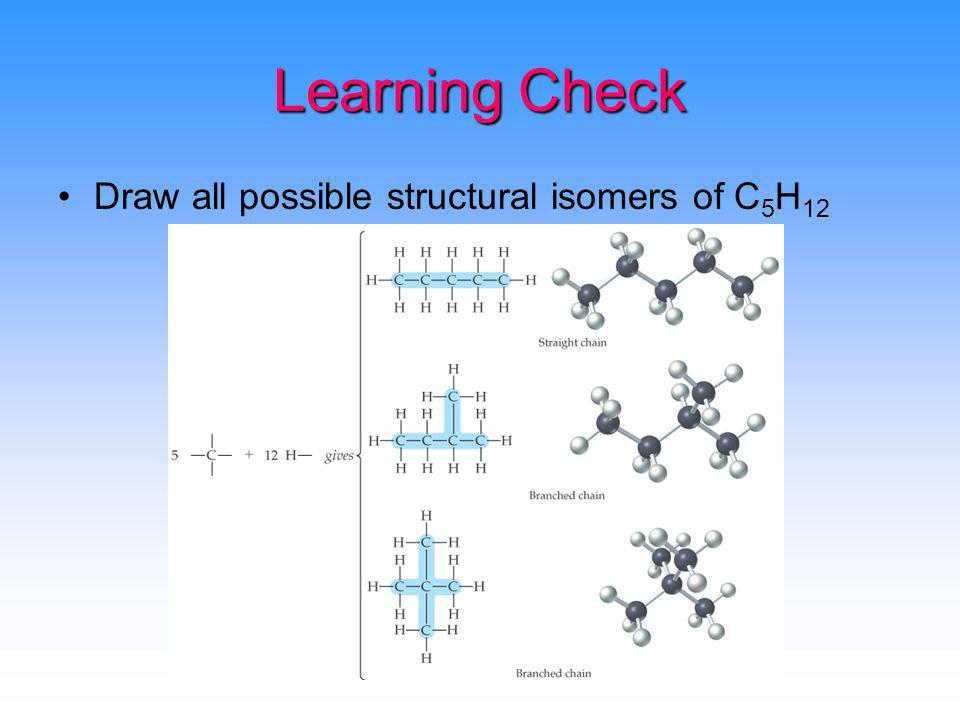 Learning Check Draw all possible structural isomers of C5H12