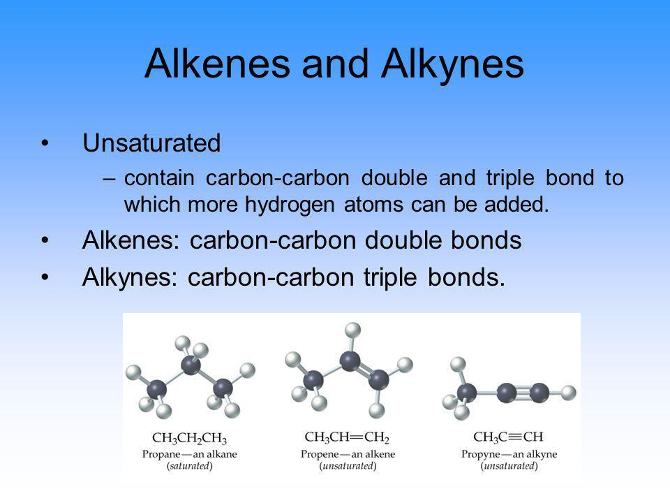 Alkenes and Alkynes Unsaturated Alkenes: carbon-carbon double bonds