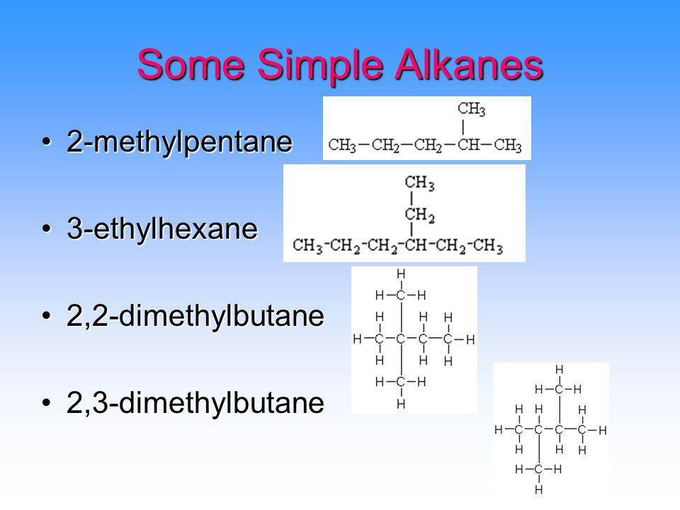 Some Simple Alkanes 2-methylpentane 3-ethylhexane 2,2-dimethylbutane