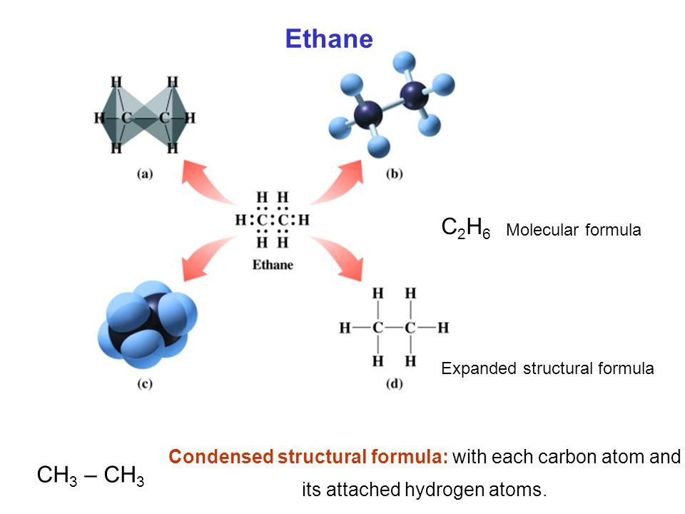 Ethane C2H6. Molecular formula. Expanded structural formula. CH3 – CH3. Condensed structural formula: with each carbon atom and.