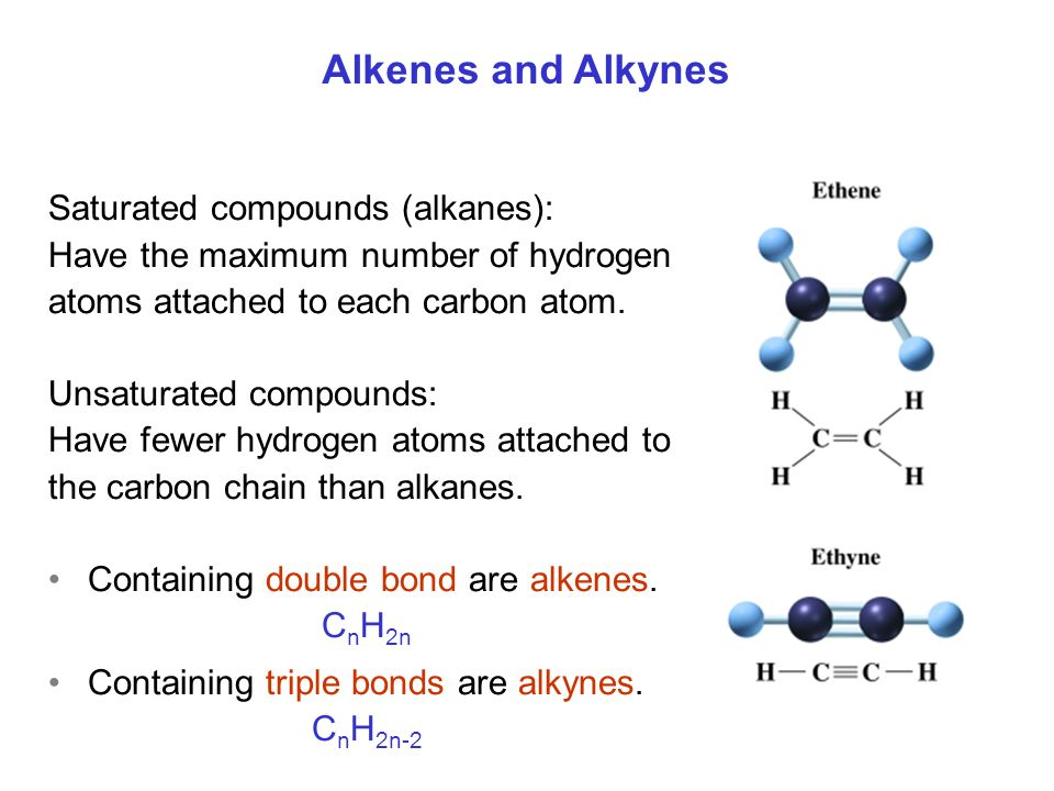 Alkenes and Alkynes Saturated compounds (alkanes):