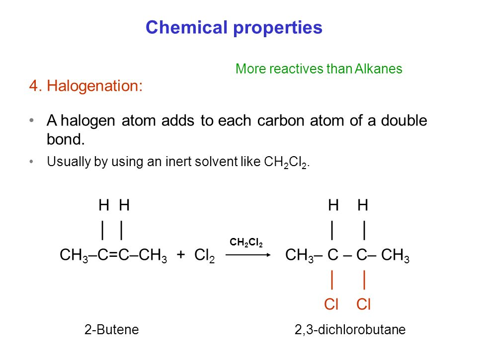 Chemical properties 4. Halogenation:
