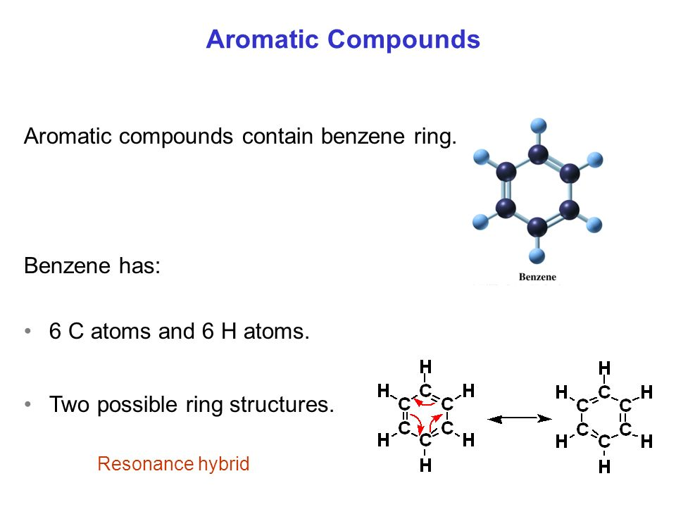 Aromatic Compounds Aromatic compounds contain benzene ring.