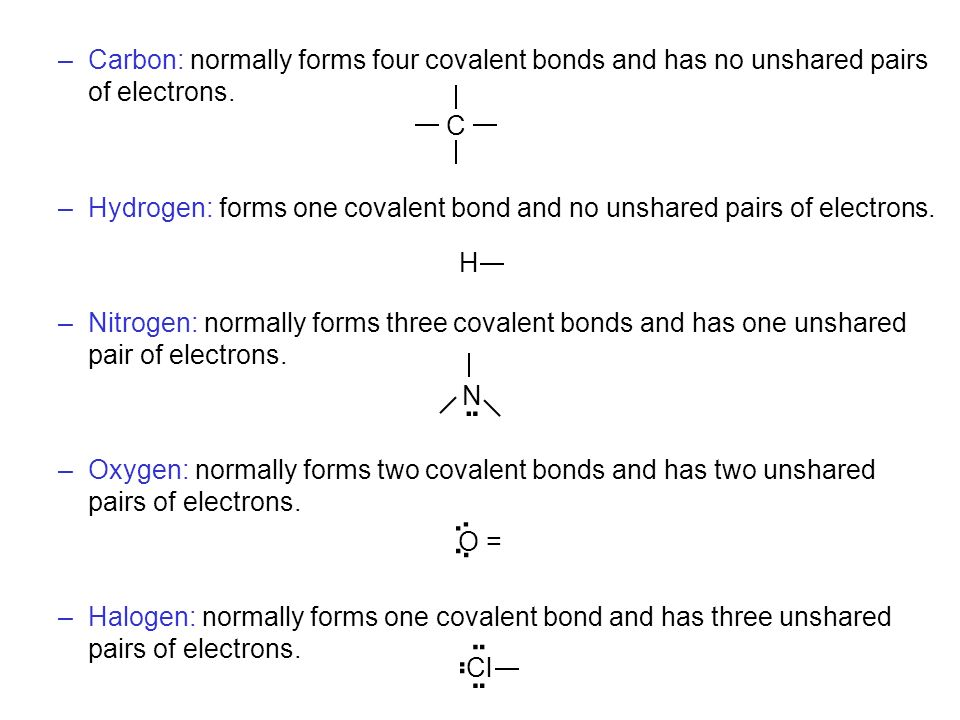 Carbon: normally forms four covalent bonds and has no unshared pairs of electrons.