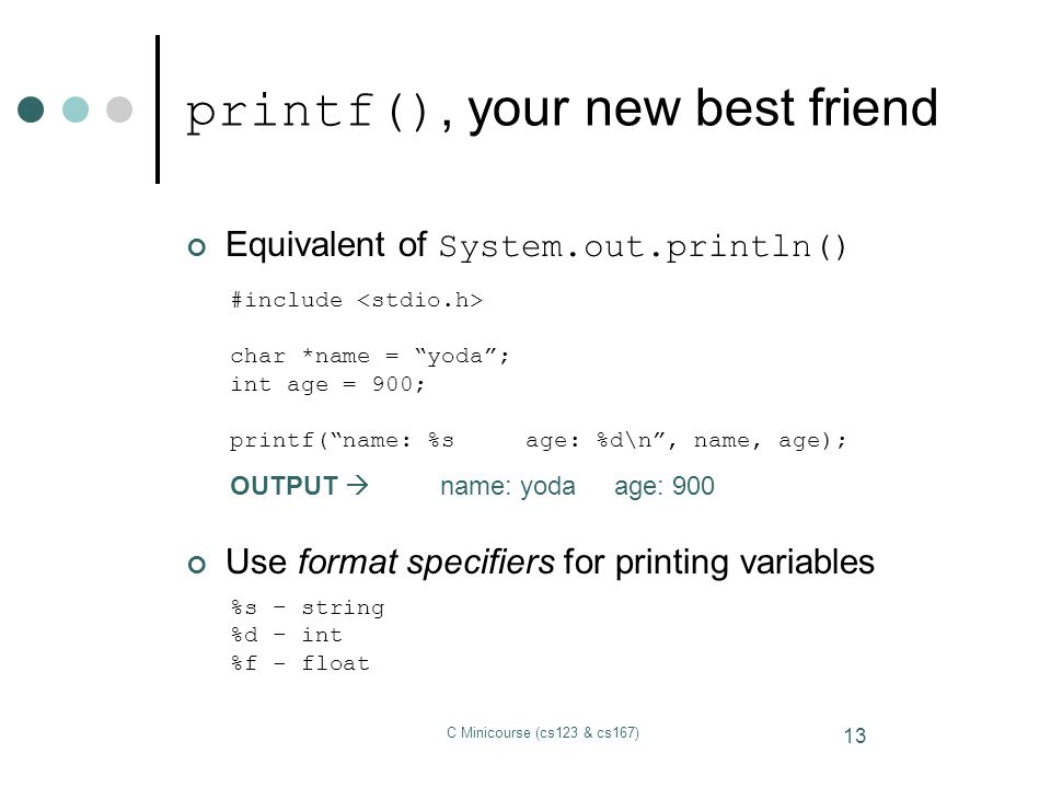 printf(), your new best friend