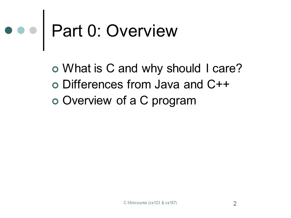 Part 0: Overview What is C and why should I care