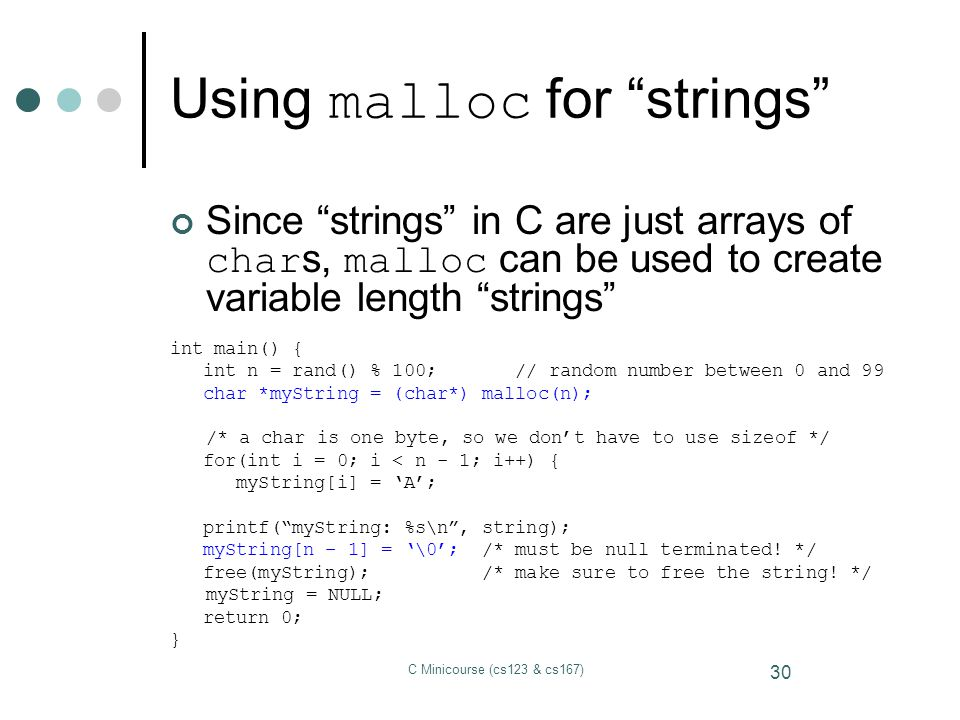 Using malloc for strings