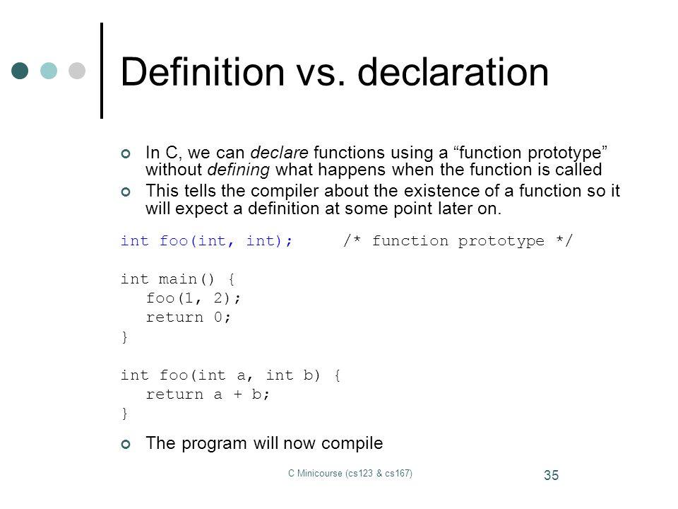 Definition vs. declaration