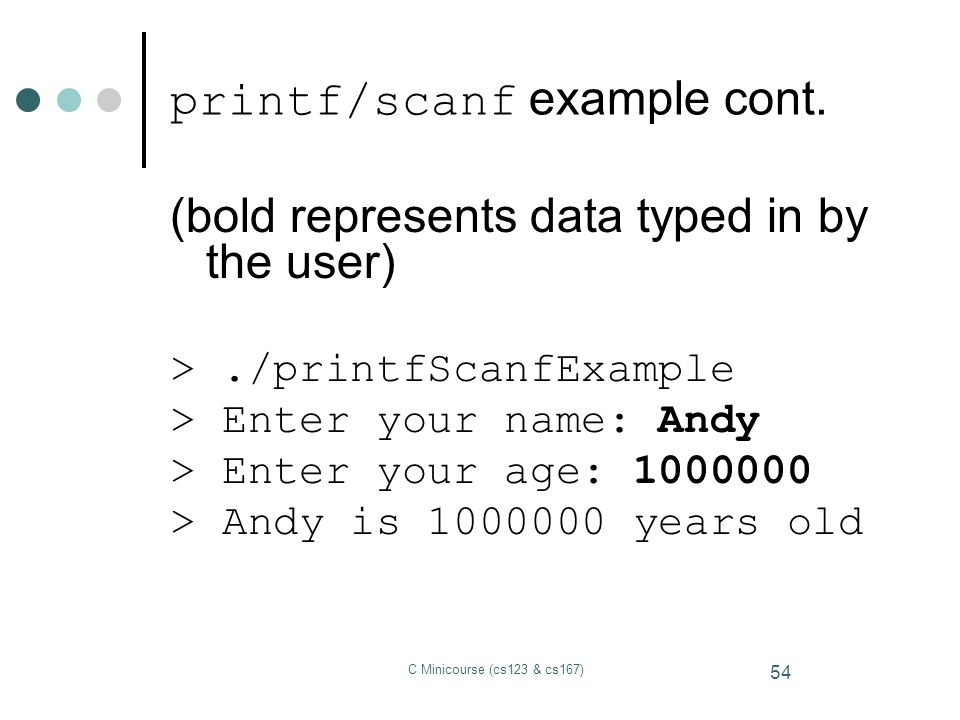 printf/scanf example cont.