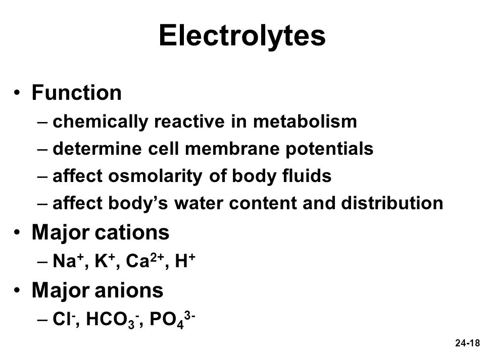 Electrolytes Function Major cations Major anions