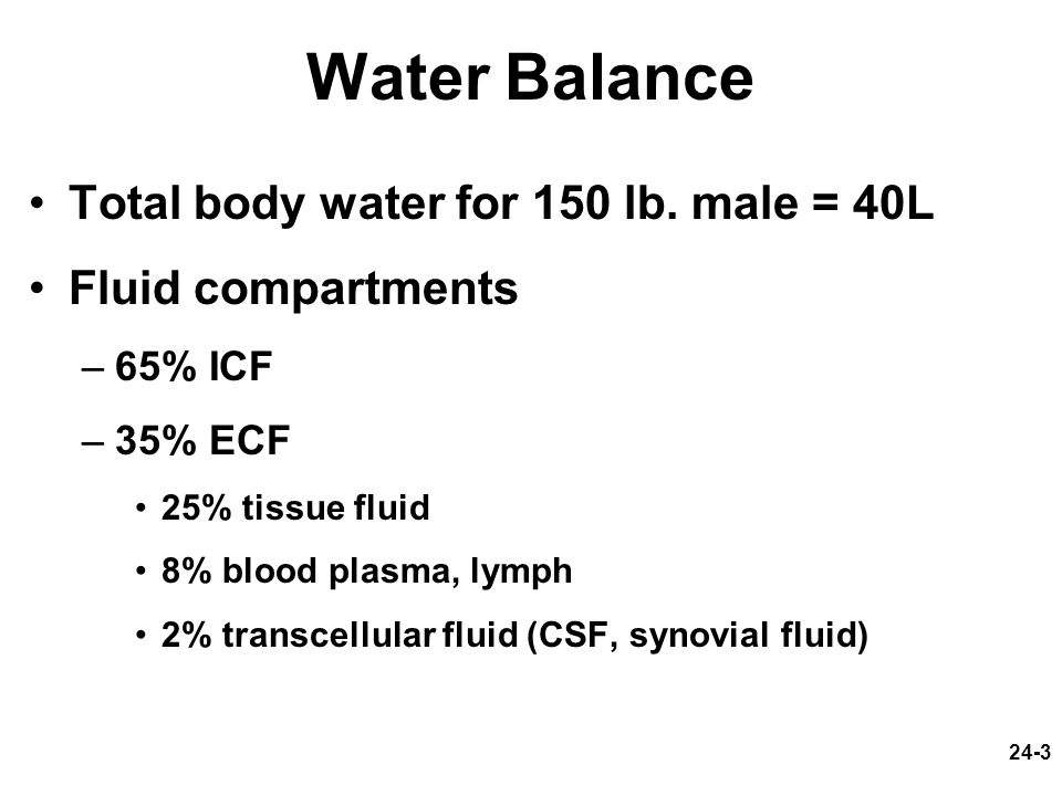 Water Balance Total body water for 150 lb. male = 40L
