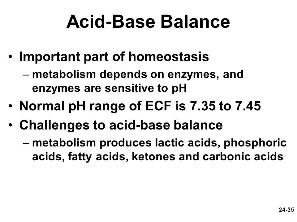 Acid-Base Balance Important part of homeostasis