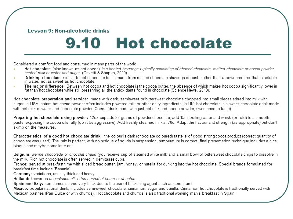 Lesson 9: Non-alcoholic drinks 9.10 Hot chocolate