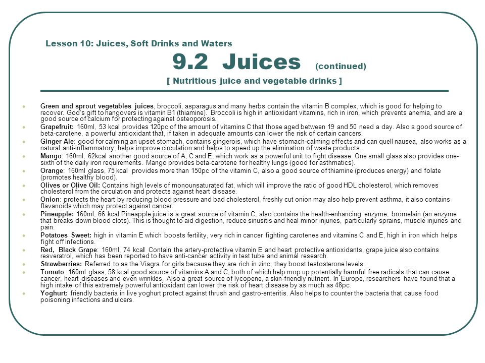 Lesson 10: Juices, Soft Drinks and Waters 9