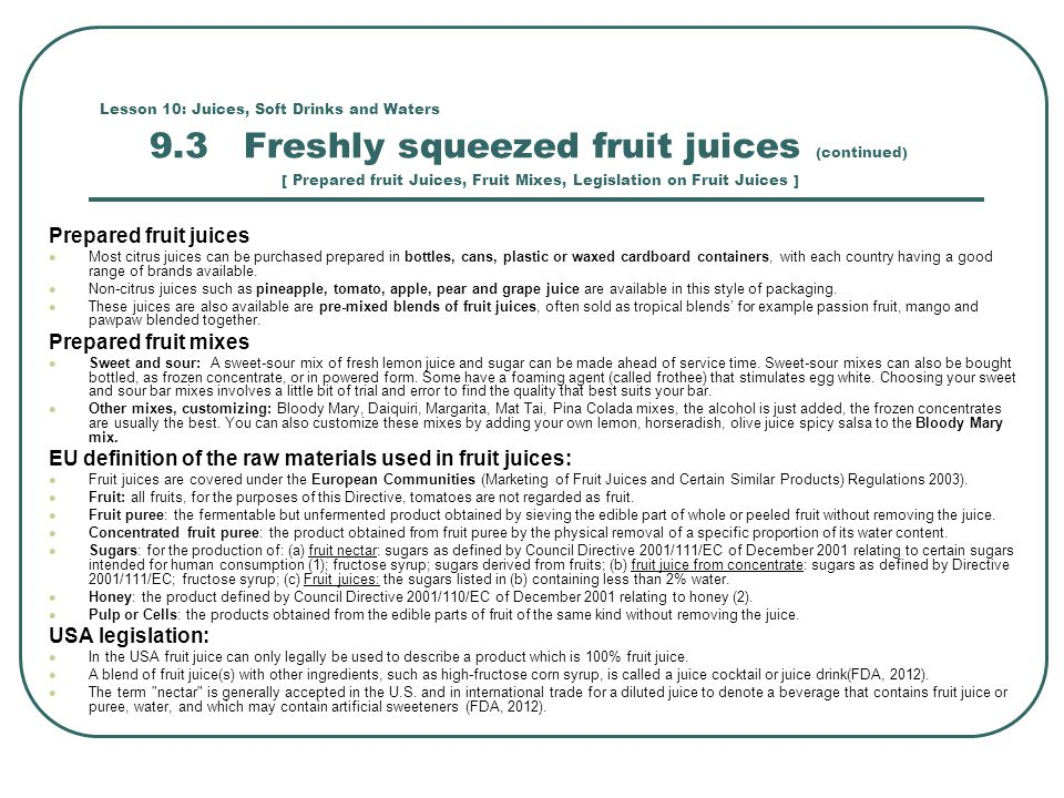 EU definition of the raw materials used in fruit juices: