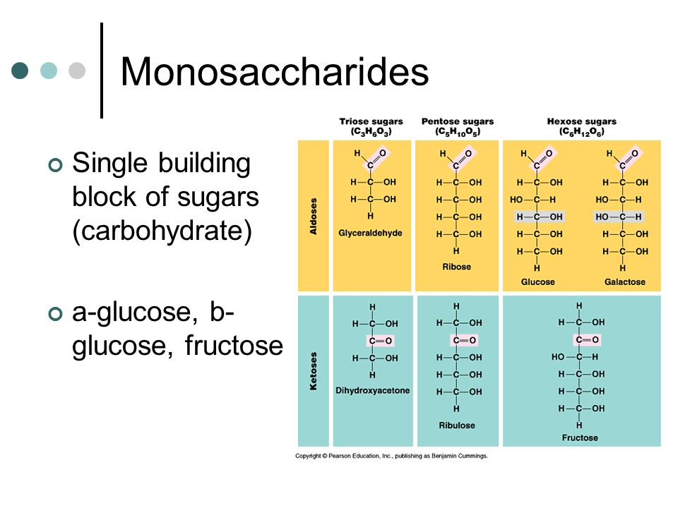 Monosaccharides Single building block of sugars (carbohydrate)