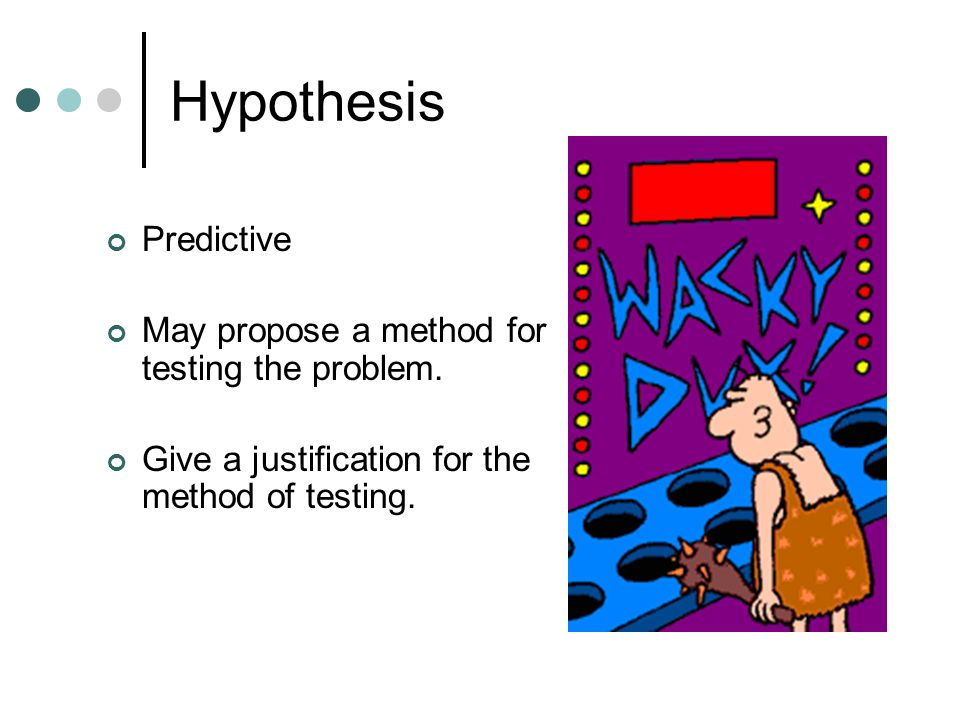 Hypothesis Predictive May propose a method for testing the problem.