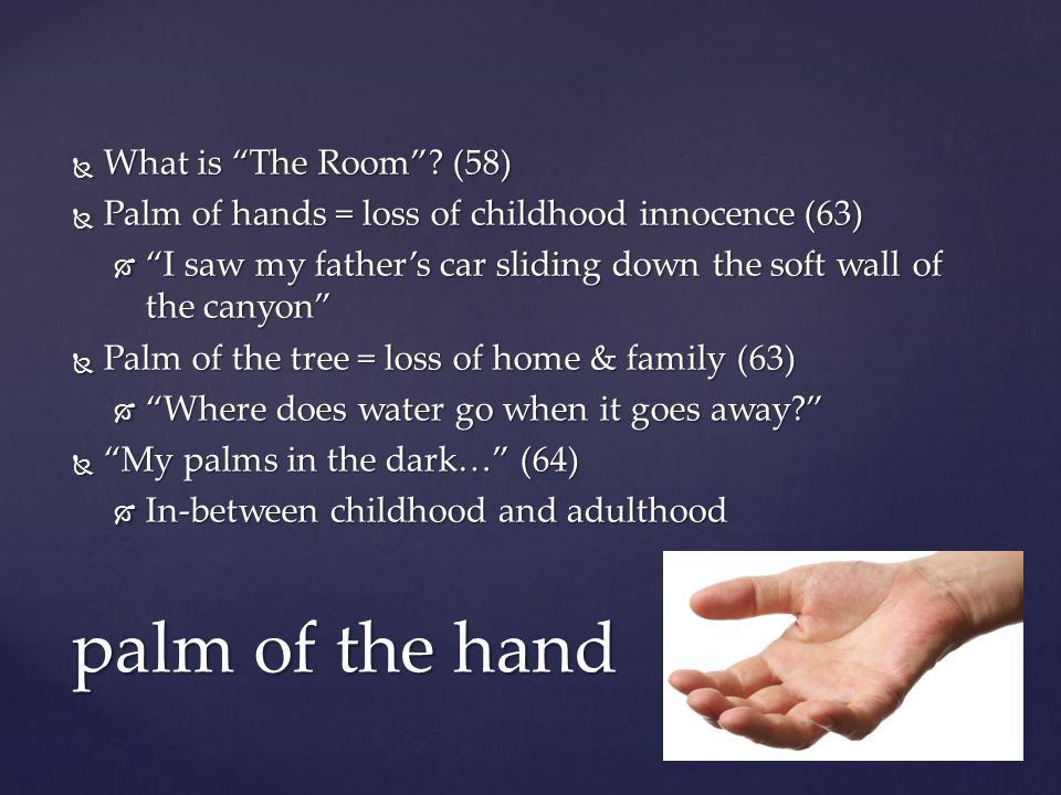 palm of the hand What is The Room (58)