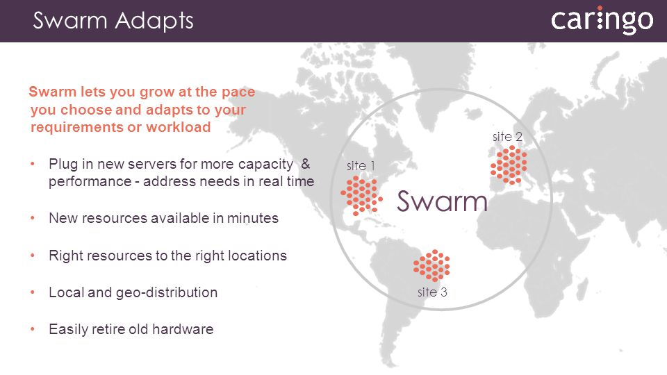 Swarm Adapts Swarm lets you grow at the pace you choose and adapts to your requirements or workload.
