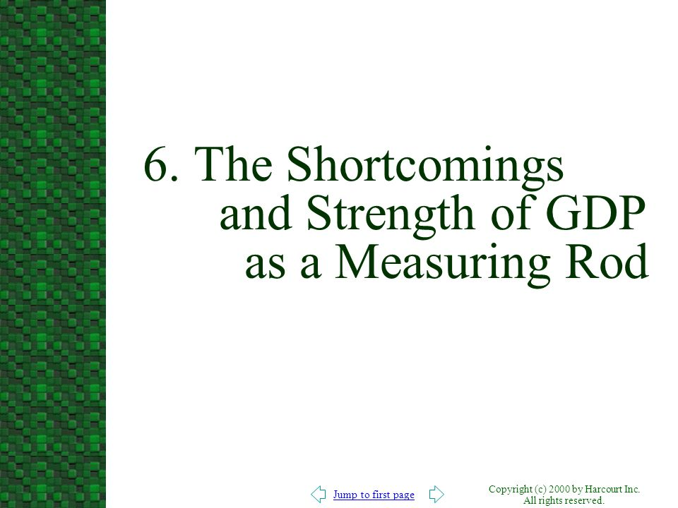 6. The Shortcomings and Strength of GDP as a Measuring Rod
