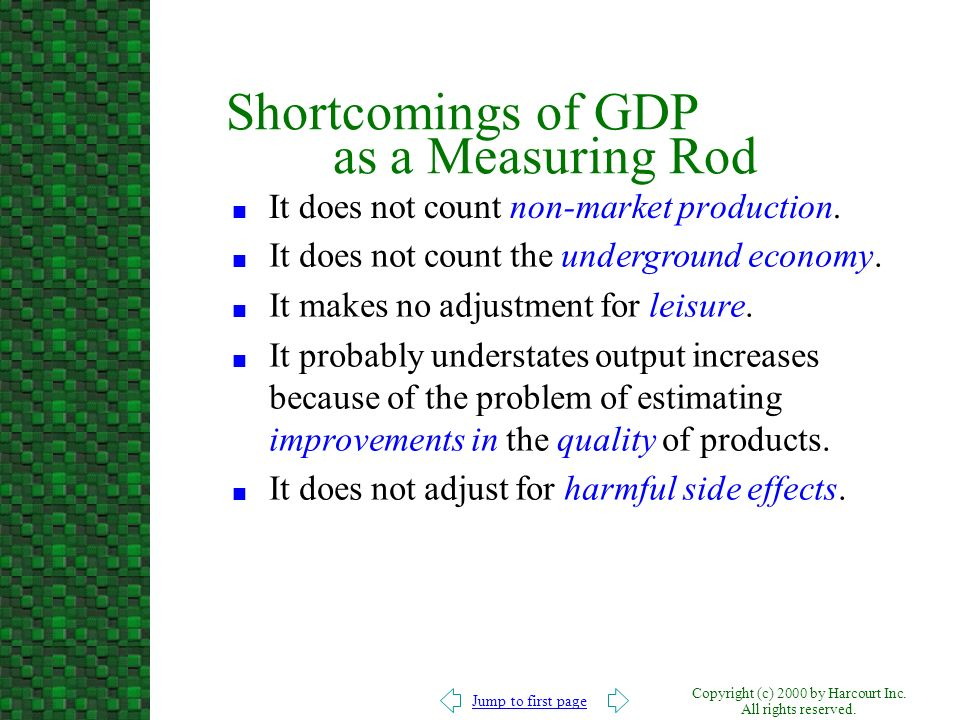 Shortcomings of GDP as a Measuring Rod
