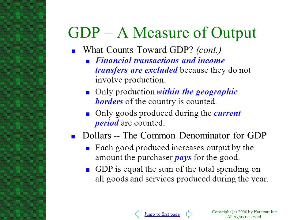 GDP – A Measure of Output