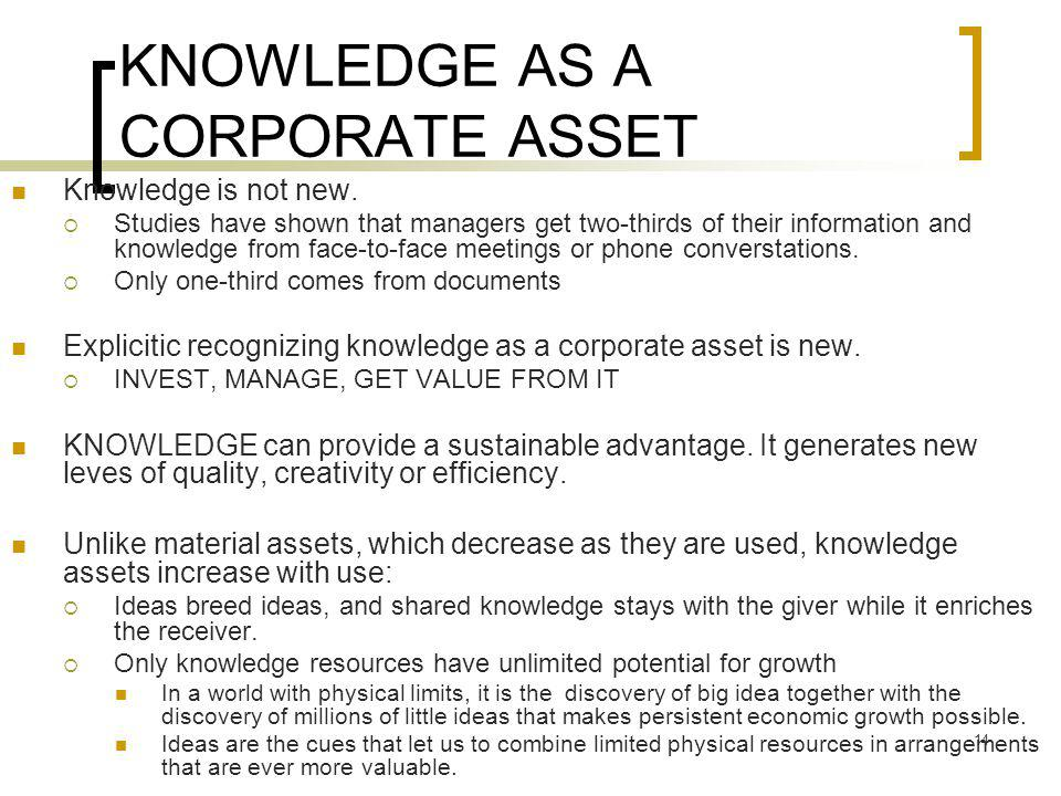 KNOWLEDGE AS A CORPORATE ASSET
