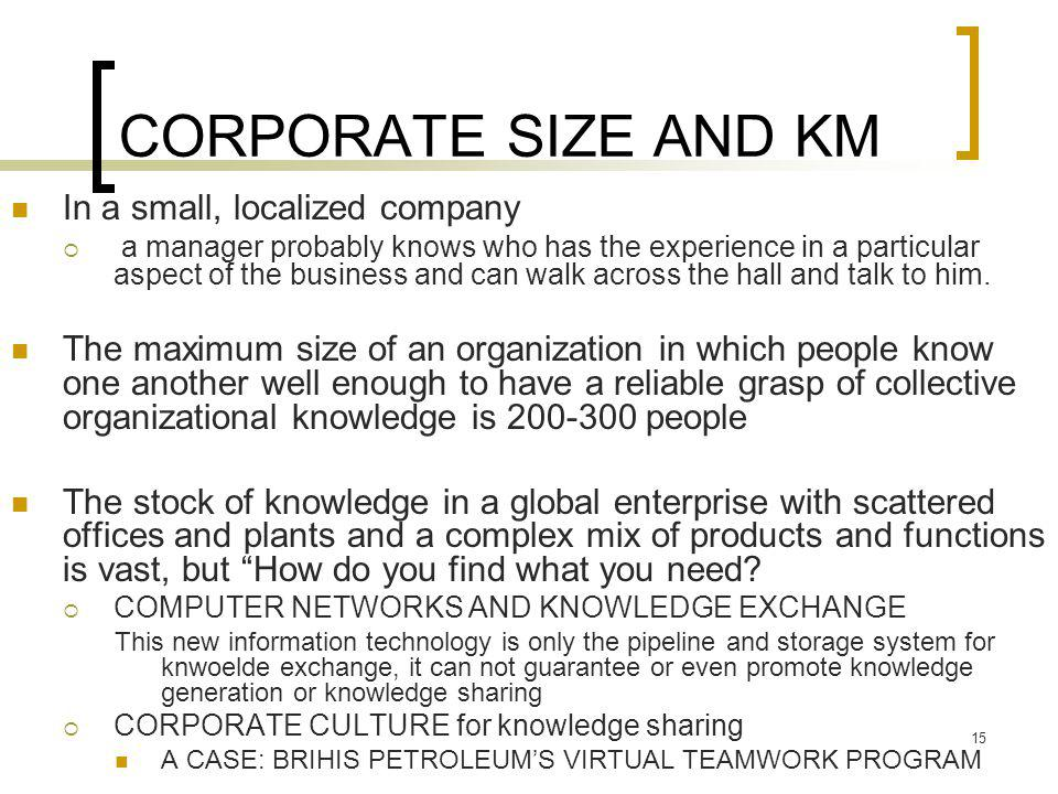 CORPORATE SIZE AND KM In a small, localized company
